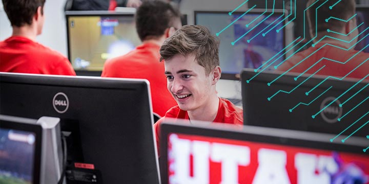 Student in University of Utah computer lab